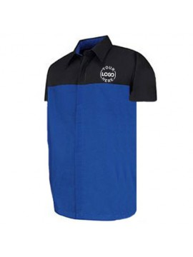Automotive Mechanic Shirts Half Sleeve Black Blue