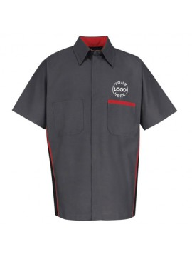 Automotive Mechanic Shirts Half Sleeve Black Red