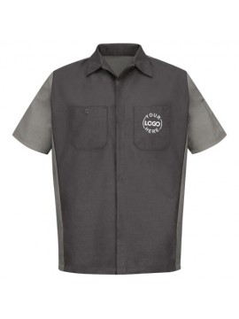 Automotive Mechanic Shirts Half Sleeve Light Dark Grey