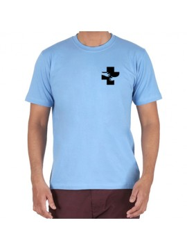Embroidered Cotton Crew Neck T Shirt Sky Blue