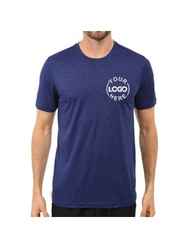 Embroidered Dri fast round neck royal blue industrial t shirt
