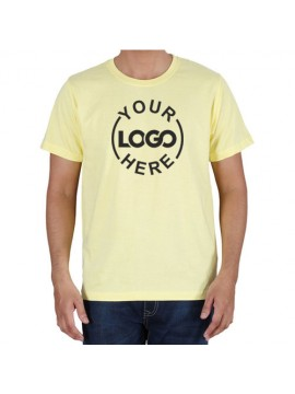 Printed Cotton Crew Neck T Shirt Light Yellow