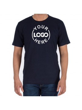 Printed Cotton Crew Neck T Shirt Navy
