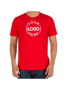 Printed Cotton Crew Neck T Shirt Red