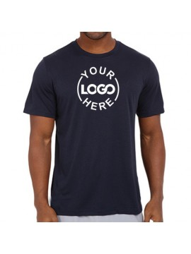 Printed Dri Fast Round Neck T Shirt Navy