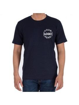 Embroidered Cotton Crew Neck T Shirt Navy
