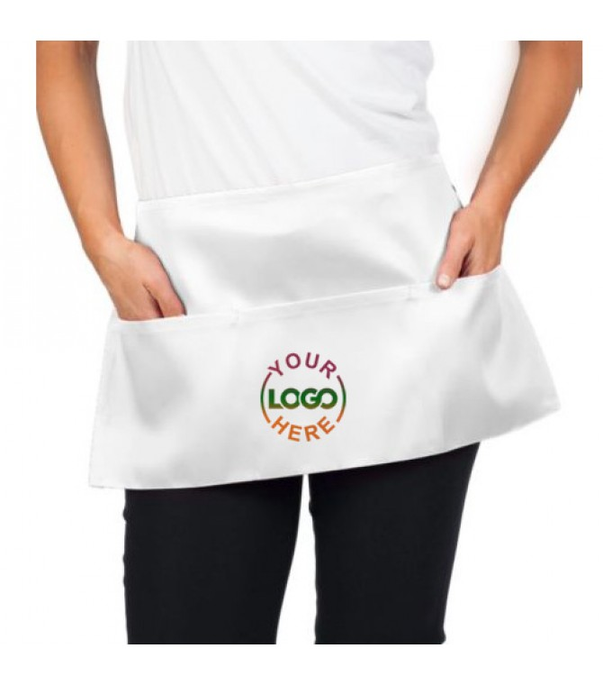 3 Pocket Unisex Waist Apron White