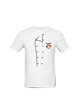 Printed White Color Chef T-Shirt