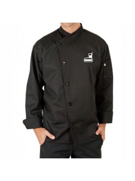 stylish black chef coat embroidered