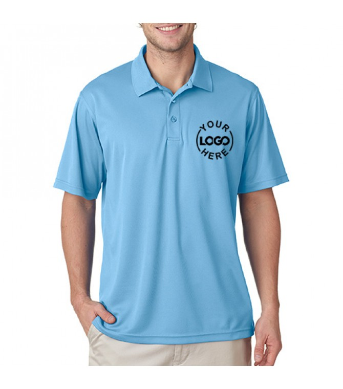 Embroidered polo dri mesh t shirt sky blue for Embroidered mesh t shirt