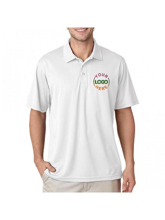 Embroidered polo dri mesh t shirt white promotionalwears for Embroidered mesh t shirt