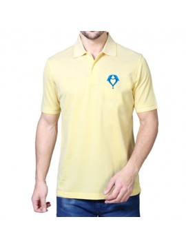 Embroidered Mix Cotton Polo T-Shirt Light Yellow