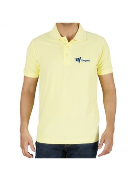 Embroidered Polo cotton T-Shirt Light Yellow