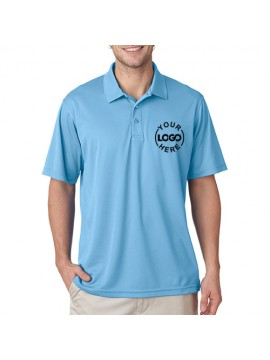 Printed Polo Dri Mesh T Shirt Sky Blue