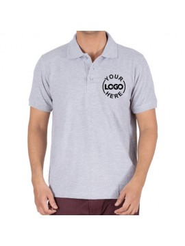 Printed Polo Cotton T-Shirt Gray