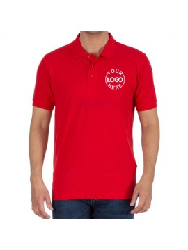 Printed Polo Cotton T-Shirt Red