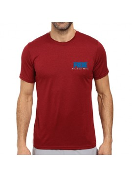 Embroidered Dri fast round neck red industrial t shirt