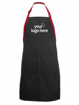 2 Pocket Unisex Color Strip Professional Kitchen Aprons