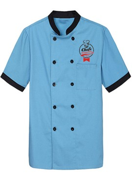 Customized Sky Blue Printed Chef Coat