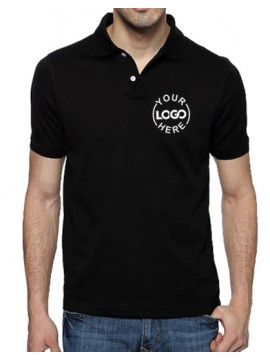 Embroidered Blended Fabric Polo T-Shirt Black