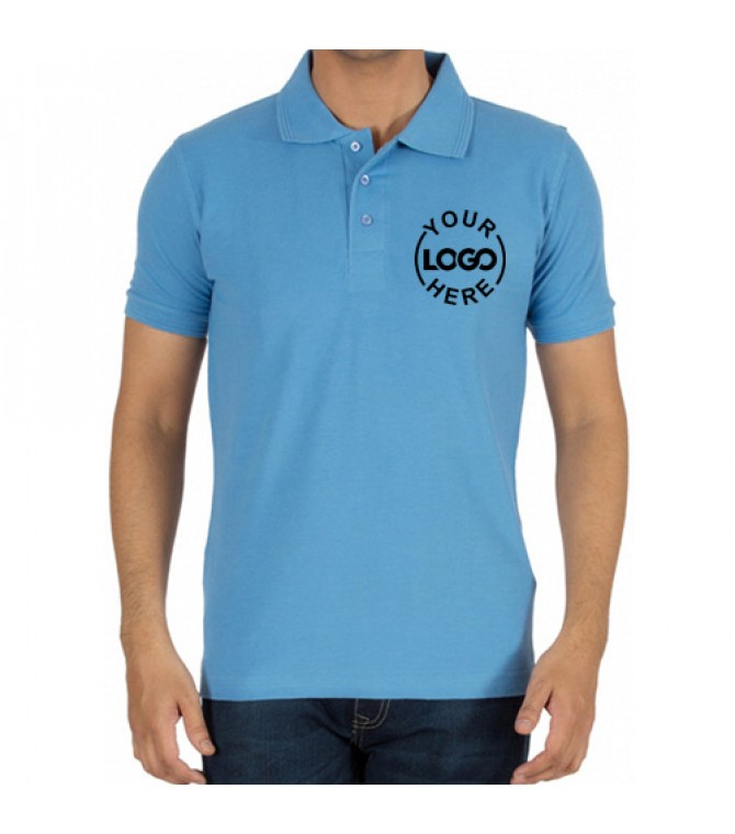 Embroidered Polo Cotton T-Shirt Sky Blue