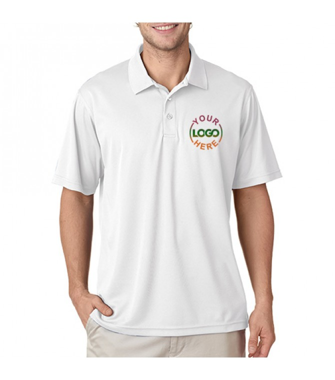 Printed Polo Dri Mesh T-Shirt White