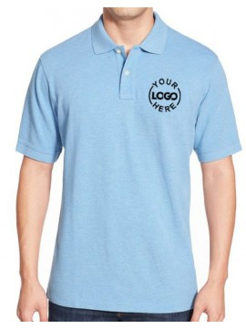 Printed Blended Fabric Polo T-Shirt Sky Blue