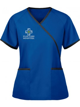 Designer Mock Wrap Scrub Suit Royal Blue