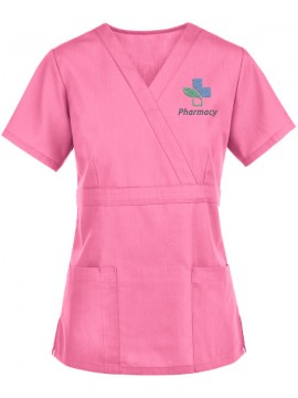 Mock Wrap Scrub Suit Pink