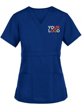 Mock Wrap Scrub Suit Blue