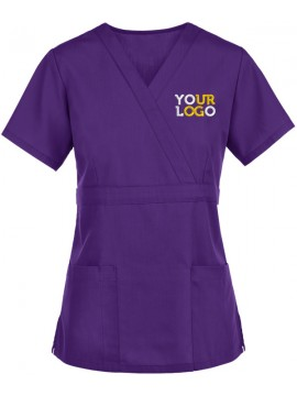 Mock Wrap Scrub Suit Purple