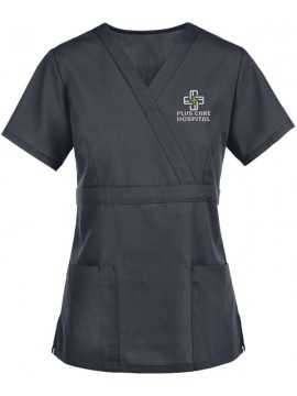 Mock Wrap Scrub Suit Black
