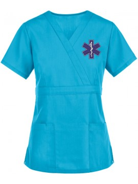 Mock Wrap Scrub Suit Sky Blue