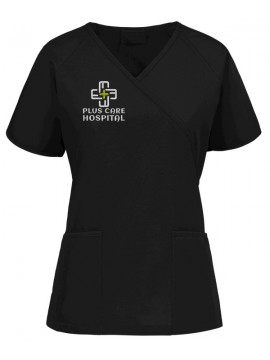 Raglan Mock Scrub Suit Black